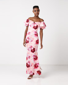 City Goddess London Off The Shoulder Floral Maxi Dress with Ruffled Sleeves Multi