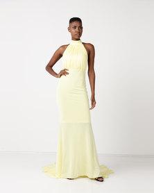 City Goddess London Halter Neck Fishtail Maxi Dress Yellow
