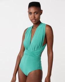 City Goddess London Multi Tie Deep V Swimsuit Jade