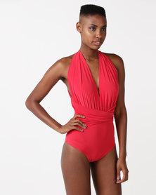 City Goddess London Multi Tie Deep V Swimsuit Red
