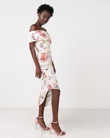 City Goddess London Asymmetric One Shoulder Floral Midi Dress Multi