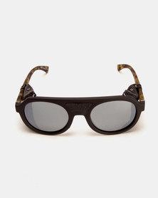 Von Zipper Psychwig Sunglasses Black Satin Camo/Grey Silver Flash Grey