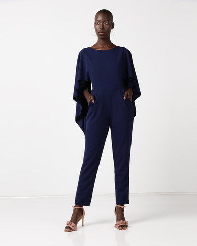 City Goddess London Open Back Jumpsuit With Waterfall Sleeves Navy
