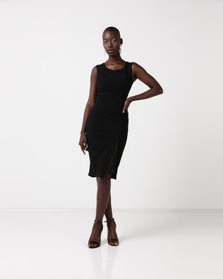 City Goddess London Off The Shoulder Midi Dress with Lace Split Detail Black