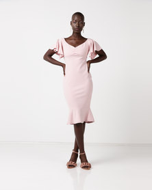 City Goddess London Off the Shoulder Midi Dress with Ruffle Sleeves Blush