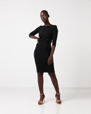 f572fd0eae City Goddess London Pleated Fitted Midi Dress with Tie Detail Black