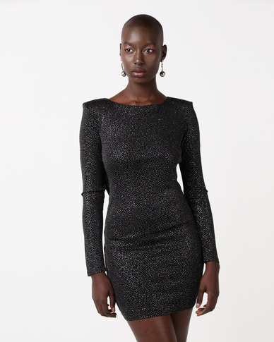 City Goddess London Glitter Cowl Back Mini Dress With Sleeves Black