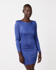 City Goddess London Glitter Cowl Back Mini Dress with Sleeves Blue