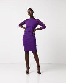 City Goddess London Raglan Lace Sleeved Dress Purple
