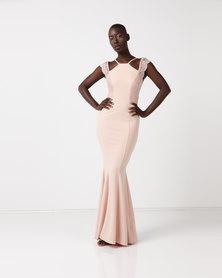City Goddess London Sleeveless Maxi Dress with Lace Detail Nude