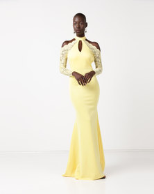 City Goddess London Halter Neck Cut Out Maxi Dress with Lace Sleeves Lemon
