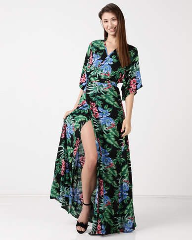 8728f5d83a67 Tasha s Closet Mahalo Floral Print Maxi Dress Black