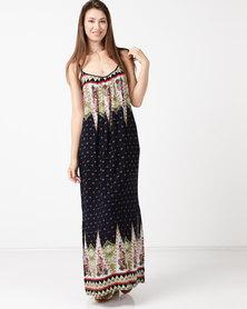 Tasha's Closet Jelly Bohemian Printed Maxi Dress Navy