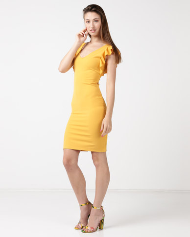 Tasha's Closet Ipanema V-neck Ruffle Sleeve Detail Mini Dress Mustard