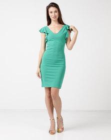Tasha's Closet Ipanema V-neck Ruffle Sleeve Detail Mini Dress Green