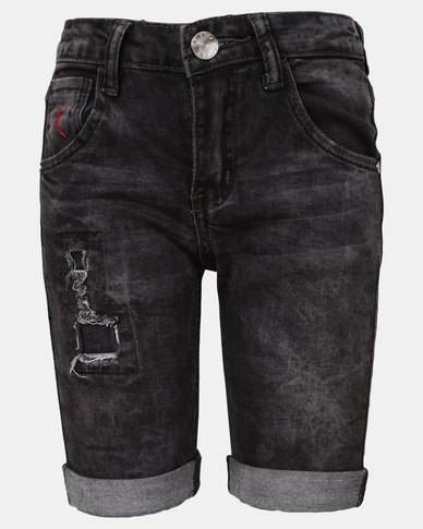 Soviet B Saddle Denim Shorts Black Marble
