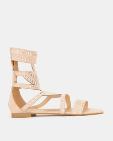 London Hub Fashion High Ankle Sandals Nude