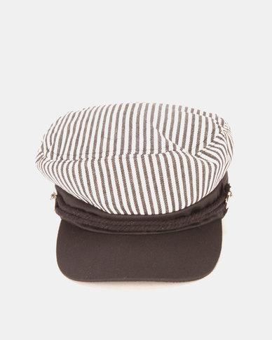 QUIZ Stripe Baker Boy Hat White Multi  b001f2504cd