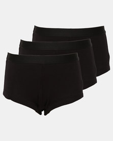 Little Lemon Girls 3 Pack Black Boyleg Panties