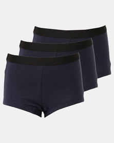 Little Lemon Girls 3 Pack Navy Boyleg Panties