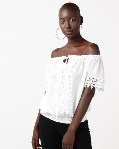 QUIZ Crepe Crochet Bardot Top With Elastic Hem Cream