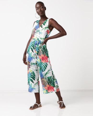QUIZ Culotte Jumpsuit Tropical Print