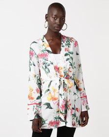 QUIZ Tie Waist Kimono White And Orange Floral