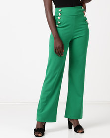 QUIZ Crepe High Waist Palazzo Trousers Green