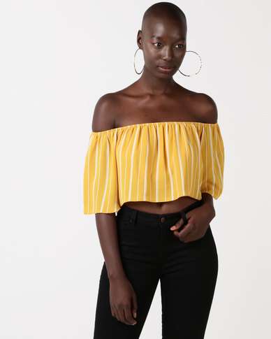 QUIZ Towie Stripe Crop Top Mustard