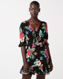 QUIZ Tie Front Dress Black Floral Print