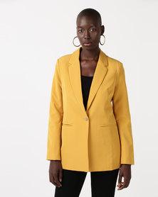 QUIZ Woven Long Sleeve Suit Jacket Mustard