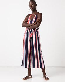QUIZ Stripe Halter Neck Culotte Jumpsuit Navy/Pink
