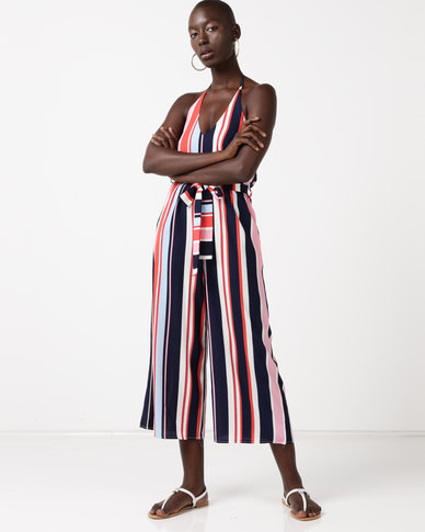 QUIZ Stripe Halter Neck Culotte Jumpsuit Navy/Pink