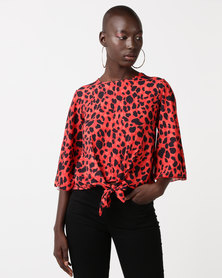 QUIZ Leopard Print Tie Front Boxy Top Red/Black
