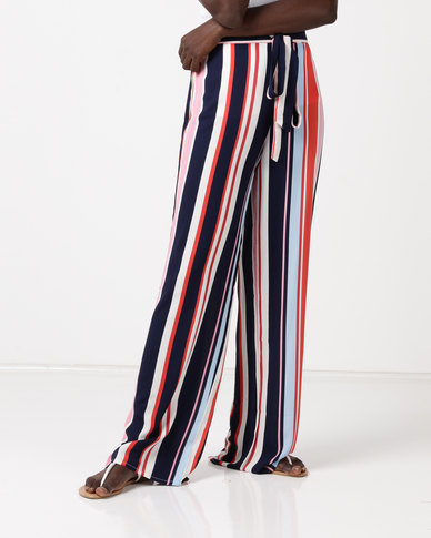 QUIZ Stripe Palazzo Trousers Navy/Pink