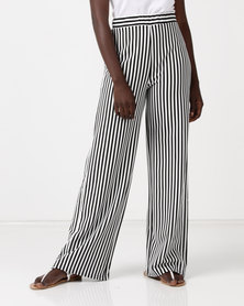 QUIZ Marcella Stripped High Waisted Palazzo Trousers White/Black