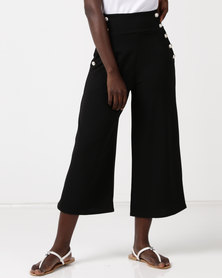 QUIZ Crepe Gold Button Culottes Black