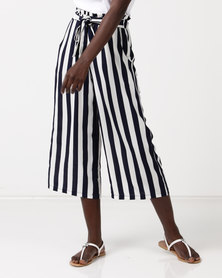 QUIZ Stripe Culotte Trousers Navy/White