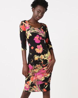 0efcb61ea7 City Goddess London Printed Midi Dress With 3 4 Sleeves Mutli