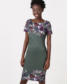 City Goddess London Short Sleeved Midi Dress Emerald Floral Print