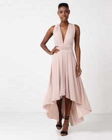 City Goddess London High Low Multiway Maxi Dress Neutral