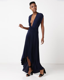 City Goddess London High Low Multiway Maxi Dress Navy