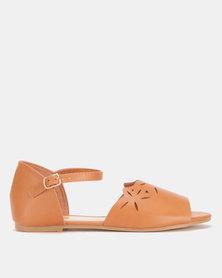 AWOL Ankle Strap Flats Tan