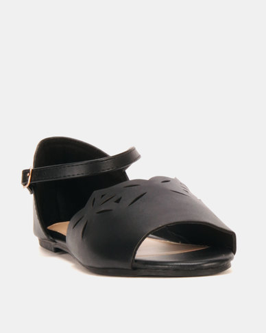 AWOL Ankle Strap Flats Black