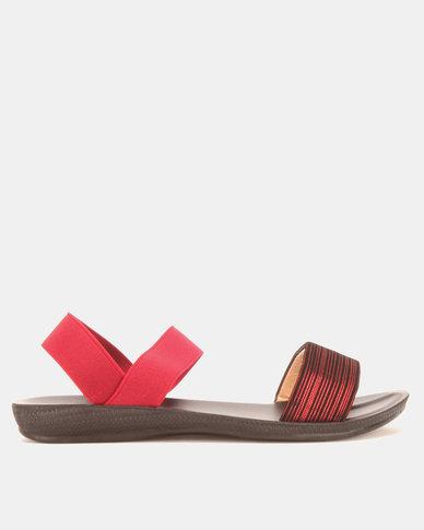 Candy Elasticated Sandals Burgundy