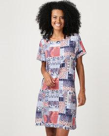 JanaS Yvonne Shaped Shift Dress Tile Print
