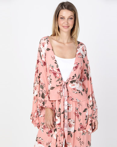 Utopia Dramatic Sleeve Cross Over Blouse Pink Rose
