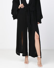 Utopia Volume Slit Paperbag Pants Black