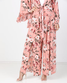 Utopia Volume Slit Paperbag Pants Pink Rose Print