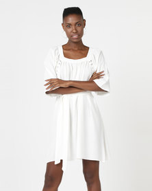Utopia A-line Dress With Lace Up Detail White